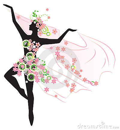 Silhouette of beautiful dancing woman