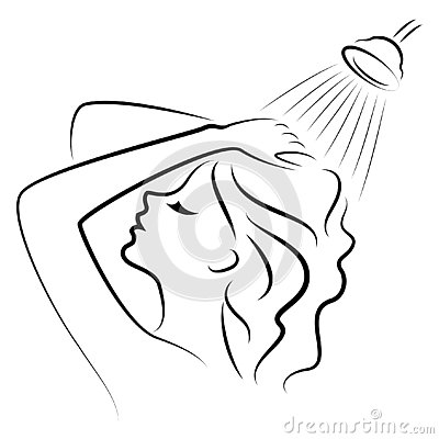 Silhouette of a cute young lady. The girl washes in the shower. A woman washes her hair with shampoo. Vector illustration Cartoon Illustration