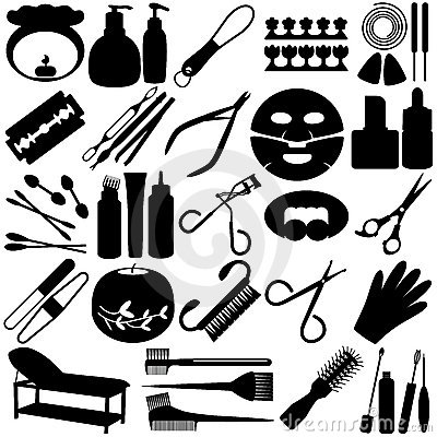 Silhouette of Beauty tools, Spa Icons, Cosmetics