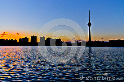 The silhouette of Beijing TV tower