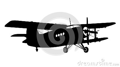 Silhouette of a biplane