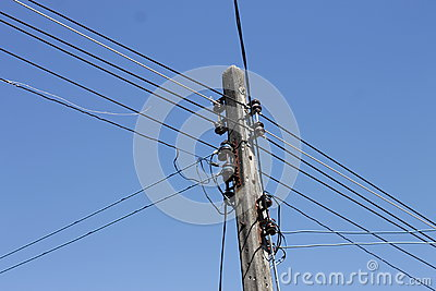 Silhouette Bird Between Electricity Wire Cable Stock Photo - Image ...