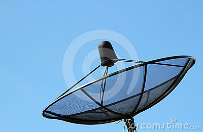 Silhouette of black satellite dish
