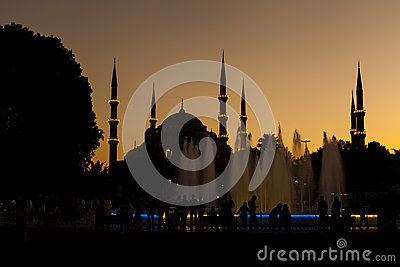 Silhouette of Blue Mosque Editorial Photo