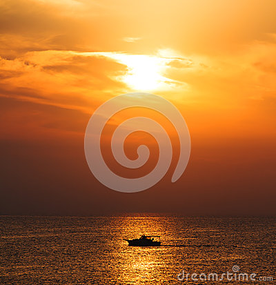 Silhouette Boat on sunrise