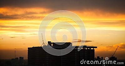 Silhouette building in the dawn