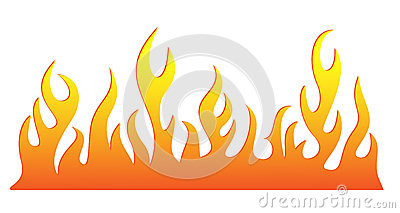 Silhouette of burning fire flame