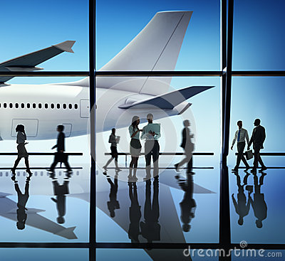 Silhouette of Business People with Airplane Concepts