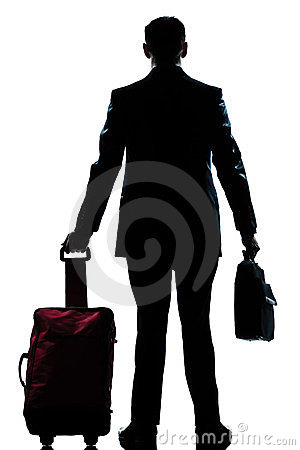 Free Silhouette Business Traveler Man With Suitcase Stock Photography - 23923152