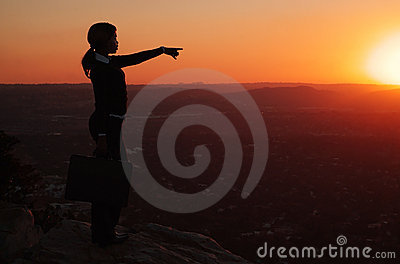 Silhouette of Woman on Hill top