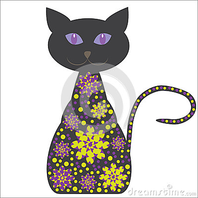 Silhouette of a cat with flowers on a white backgr