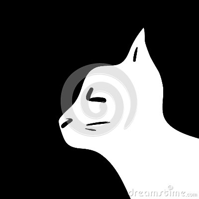 Silhouette of cat head