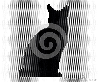 Silhouette of cat from knitted texture