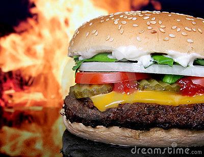 Silhouette of cheese burger and summer garden vegetables