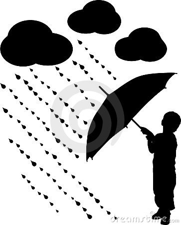Silhouette child with umbrella, vector