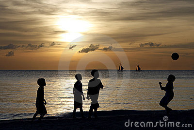 Silhouette of Children Playing 2