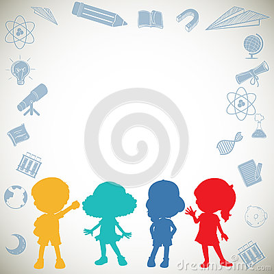 Silhouette Children And Science Symbols Stock Vector ...