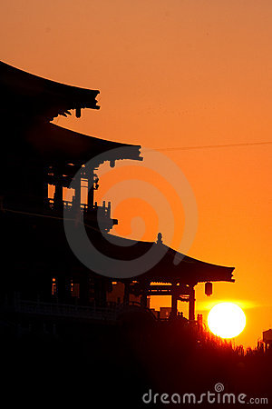 Silhouette of China old pagoda