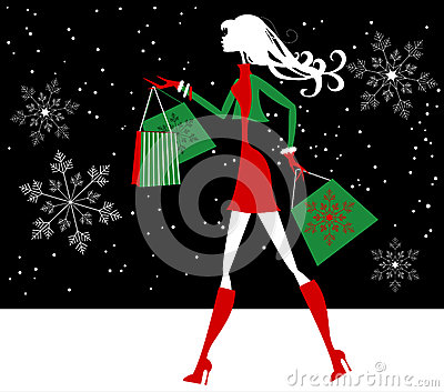 Silhouette Christmas Girl Shopper