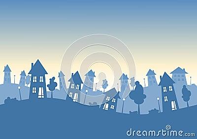 Silhouette city houses skyline