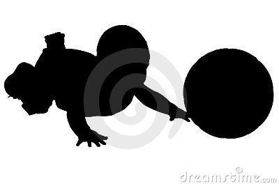 Silhouette With Clipping Path of baby with ball.