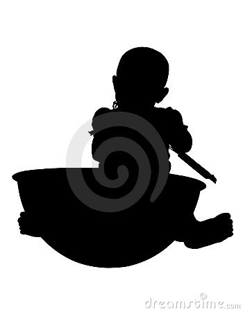 Silhouette With Clipping Path Baby with giant bowl