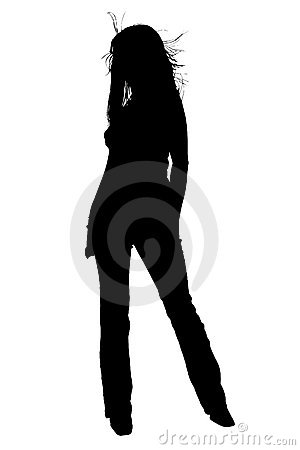 Silhouette With Clipping Path of Beautiful Young Woman With Hair
