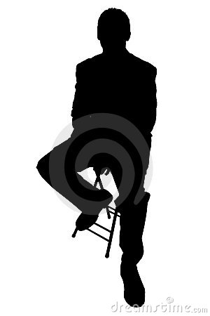 Silhouette With Clipping Path of Business Man on Stool