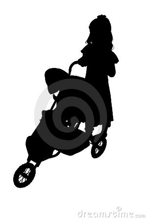 Silhouette With Clipping Path of Child with Stroller