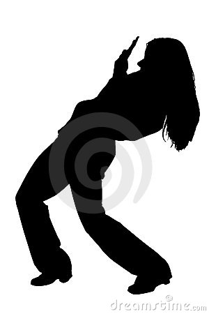 Silhouette With Clipping Path of Cringing Business Woman