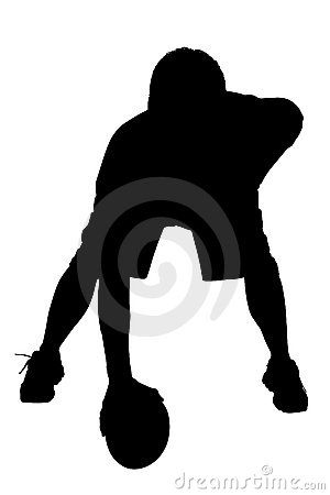 Silhouette With Clipping Path of Football Player