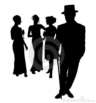 Silhouette With Clipping Path of Formal Group