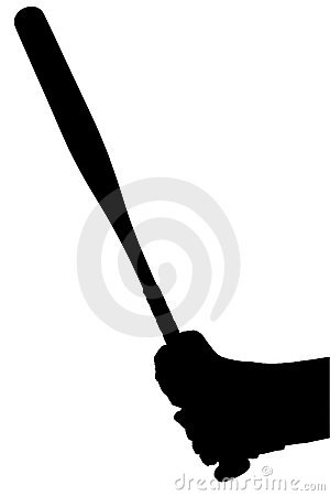 Silhouette With Clipping Path of Gloved Hands on Softball Bat