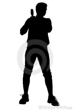 Silhouette With Clipping Path of Male Softball Player