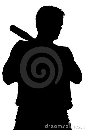 Silhouette With Clipping Path of Man With Baseball Bat