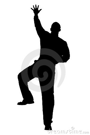 Silhouette With Clipping Path of Man Climbing