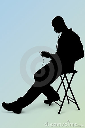 Silhouette With Clipping Path of Man Listening to Headphones Ove