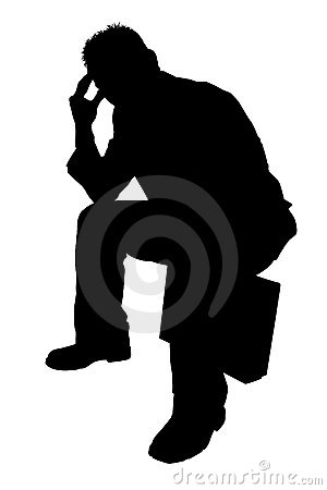 Silhouette With Clipping Path of Man Thinking