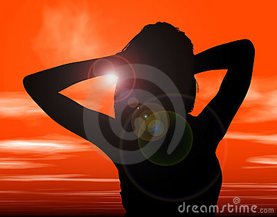 Silhouette With Clipping Path of Woman Against Sunset