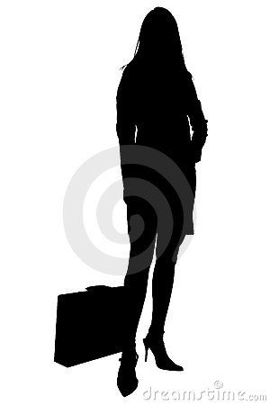 Silhouette With Clipping Path of Woman With Briefcase