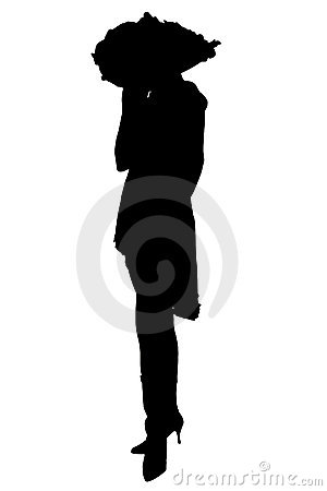 Silhouette With Clipping Path of Woman in Hat