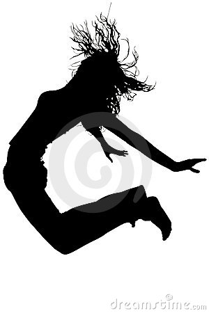 Silhouette With Clipping Path of Woman Jumping
