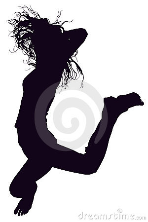 Silhouette With Clipping Path of woman jumping.