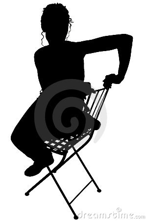 Silhouette With Clipping Path of Woman Sitting