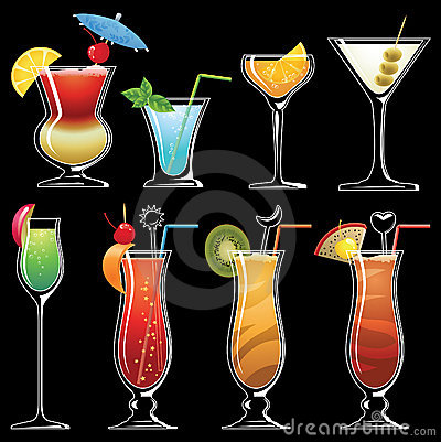 Silhouette of coctails