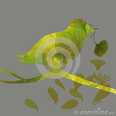 Silhouette of colorful bird with flower