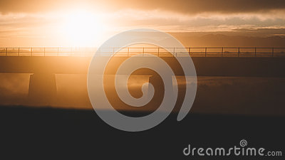 Silhouette Of Concrete Bridge Against Sun Free Public Domain Cc0 Image