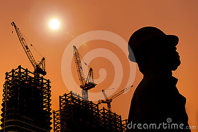 The Silhouette of Construction workers