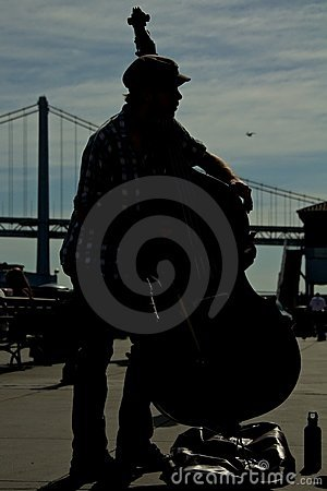 Silhouette of a contrabass player Editorial Photo
