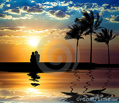 The silhouette of couple